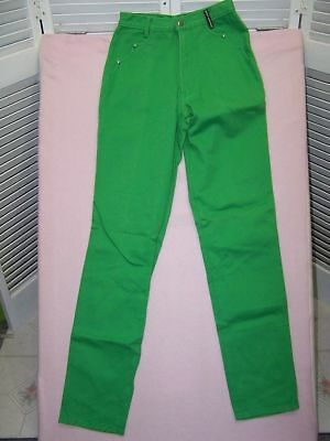 "Vintage 1980's Rocky Mountain high 12"" waisted bright green jeans size 27x37"