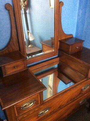 Antique Victorian Flame Walnut and Mahogany Dressing Table. UK DELIVERY