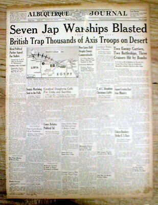 1942 WW II hdlne newspaper NAVAL BATTLE for GUADALCANAL 7 Japanese warships hit