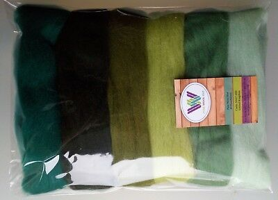 Green set* Pure Wool Tops for felting, lime willow olive forest pack of 60g