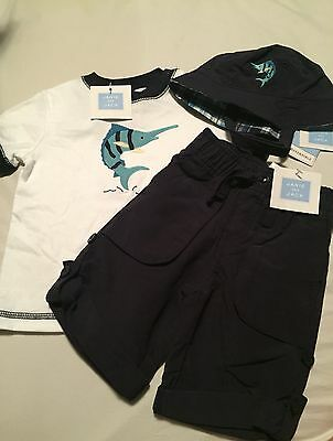 Janie And Jack Boys 3 Piece Outfit Size 3-6 Months Swordfish Nwt