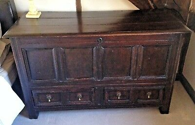 Georgian Oak Mule Chest Blanket Box Coffer Ottoman 17th century