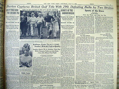 <1939 newspaper DICK BURTON WINS BRITISH OPEN CHAMPIONSHIP at ST Andrews GOLF