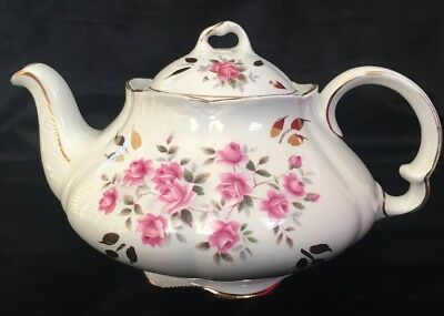 Vintage ELLGREAVE England  Ironstone Teapot With Pink Roses  #468