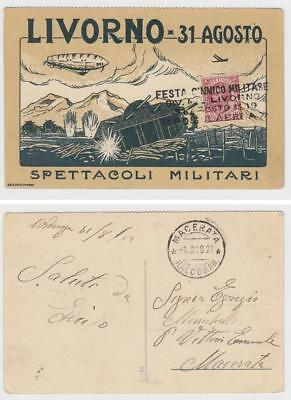 (Airship, Italy)  Livorno 1919 special event card,  airmail cancel