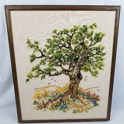 "Crewel Embroidery Cypress Oak Tree Vultures Hills 20""x24"" Framed"