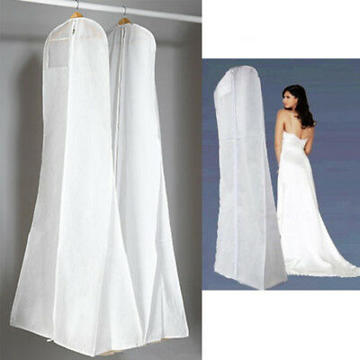 White Wedding Dress Bridal Gown Garment Storage Bag Breathable Cover Protector