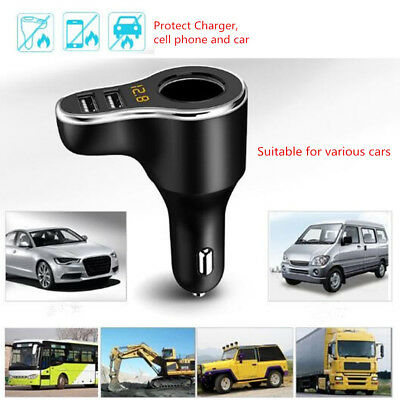 Car LCD Cigarette Lighter Socket Splitter DC/12V Dual USB Charger/Power Adapter