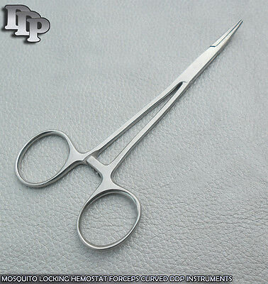 Set Of 3 High Quality Stainless Steel Hemostat Forceps Curved Serrated Tip 5.5""