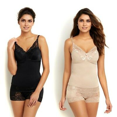 Rhonda Shear Pin-Up Lace Trim Knit Padded Camisole 2Pc Black Nude S NEW 527-888