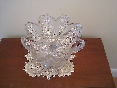Beautiful Antique Daisy And Button Pressed Glass Comport