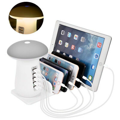 5Port USB Charging Station Dock Stand Desktop Multi Charger Hub For Phone Tablet