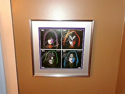 Kiss Rare Framed SIGNED Record Gene Simmons Peter Criss Paul Stanley Ace Frehley