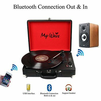 My Wave Portable Bluetooth Wireless Turntable with Built-in Stereo Speakers 3...