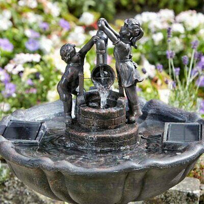 Bronze Effect Boy & Girl Solar Powered Garden Water Feature Fountain Outdoor UK