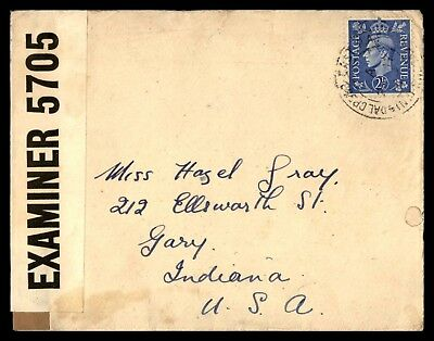 GREAT BRITAIN 1940s 2 1/2d ISSUE 1940s CENSORED COVER TO GARY IN USA