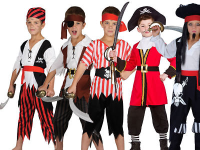 Captain Pirate Outfit Fancy Dress Costume Kids Jake And The Neverland Pirate Age