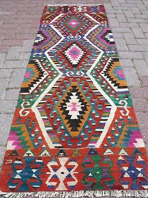 "Vintage Turkish Kilim Runner Rug,Carpet Runner 27,5""x75,9"" Corridor,Hallway Rug"