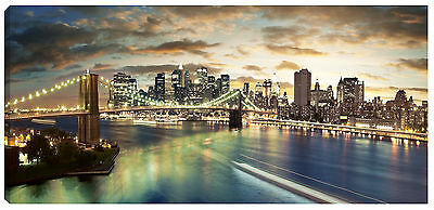 Quadro stampa moderno ponte brooklyn NEW YORK america 90x30 tela canvas arte