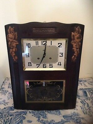 FRENCH Antique ODO Wall CLOCK Pendulum Chime Vintage (15)