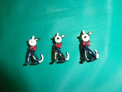 Vintage Lot of 3 Shiny Enamel Kitty Cat Scatter Pin Brooches