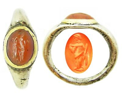 1st - 2nd century AD Ancient Roman Silver & Gold Intaglio Ring of Venus Size N