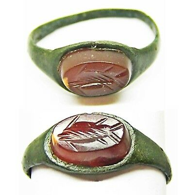 3rd century AD Ancient Roman Bronze Carnelian Intaglio Ring of a Christian Fish