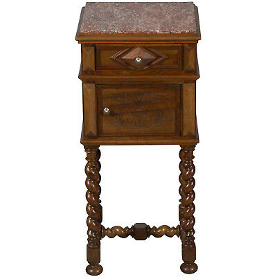 Antique French Country Barley Twist Marble Top Pot Cupboard Nightstand Walnut