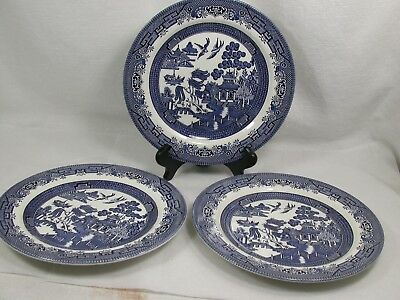 6 Churchill England Blue Willow China 10 1/4 Inch Dinner Plates
