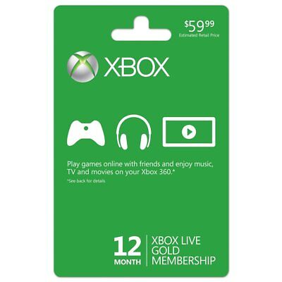12 Month Gold Membership Code Card for Xbox Live One / 360 Fast Shipping