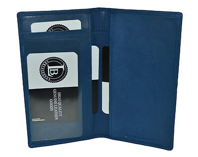 Genuine Leather PLAIN Checkbook Cover BLUE- NEW BY Leatherboss