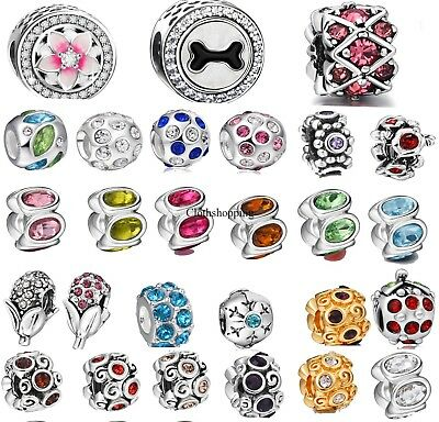 Pink Red Crystal Silver Charm Bead For 925 Sterling Silver European Bracelet