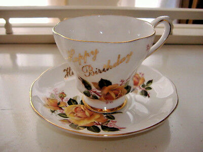 Vtg Royal Grafton Happy Birthday Tea Cup & Saucer Yellow Cabbage Rose Pre Owned