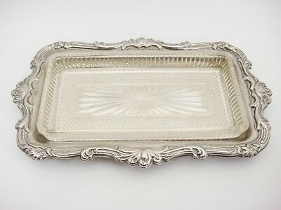 Vintage Silver Plated Butter Dish Tray w Glass Insert Open No Lid Scroll Design