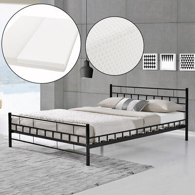 en casa metallbett 120x200 wei mit matratze bettgestell. Black Bedroom Furniture Sets. Home Design Ideas