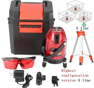 Auto 360° Self-Leveling best ver. 5Line Rotary Laser Level Measure Kit Tripod