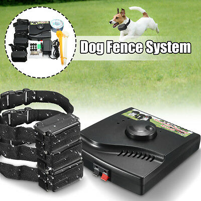 Waterproof Electric Dog Fence 3 Shock Collars System Hidden In-Ground Pet New