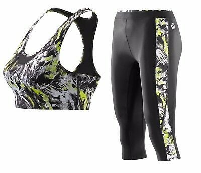 Skins genuine compression sports bra tights speed crop acid womens SMALL