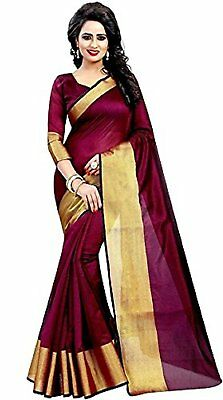 Bhagalpuri Art Silk Purple Pakistani Designer Saree Party Sari Indian Blouse