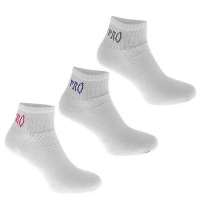 3 pairs USA Pro Padded Foot bed Golf Ankle Socks Cotton Mix White Coloured Trim