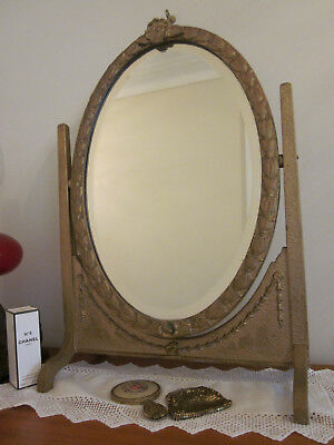Gorgeous Antique Gold Swivel Frame Dressing Table Mirror