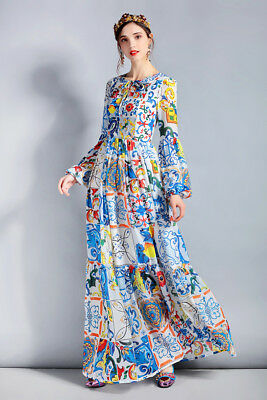 PGM Women Designer Inspired Boho Colourful Floral Print Maxi Dress plus