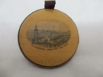 Wooden Treen Mauchline Pin Wheel depicting Folkston, Antique c.1900. BLA03202