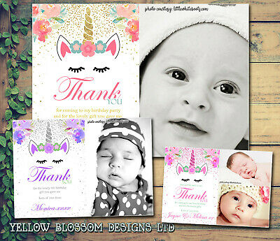 Magical Unicorn Glitter Effect Personalised Birthday Thank You Cards Photos Fun