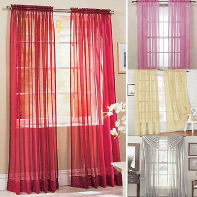 1PC Sheer Solid Color Window Curtains For Living Room Wedding Window Decor