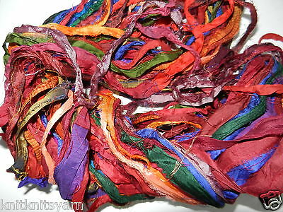 100g Sari Silk Ribbon craft ribbon jewelry making Earth multi