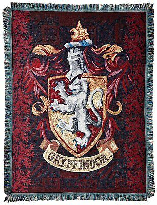Harry Potter Gryffindor House Crest Logo Woven Tapestry Throw Blanket NEW