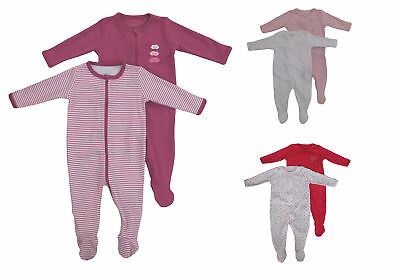 Name It Pack of 2 Pyjama Baby Girls Nightsuit Romper One Piece with Zip