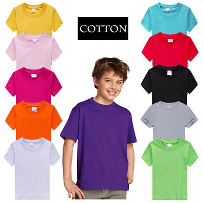 Baby Kids Boys Girls 100% Cotton T-Shirt Plain Short Sleeve Tee Tops 2-14Y