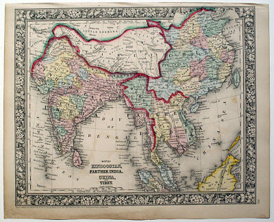 1863 India Tibet Se Asia China, Mitchell Antique Hand-Colored Map